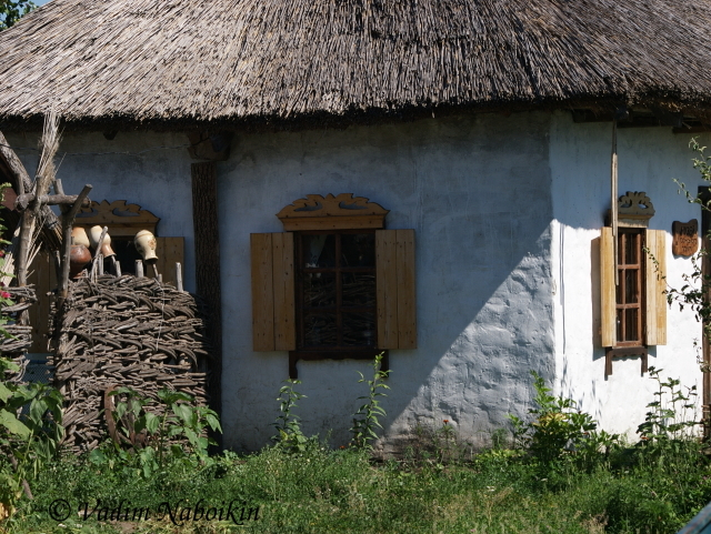 Population in Ukraine often stends summer in villages, in small huts with little orchards
